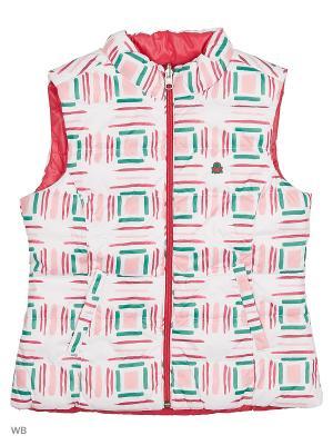 Жилет United Colors of Benetton. Цвет: розовый, белый