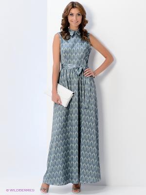 Платье Анна Чапман. Цвет: синий, светло-зеленый