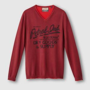 Пуловер с V-образным вырезом PETROL INDUSTRIES. Цвет: бордовый,темно-синий