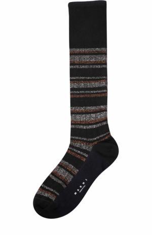 Хлопковые носки с металлизированной нитью Marni. Цвет: черный