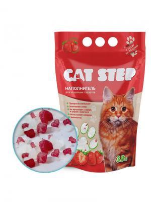 Силикагель 3,8л наполнитель для кошачьих туалетов с ароматом клубники. CAT STEP. Цвет: прозрачный