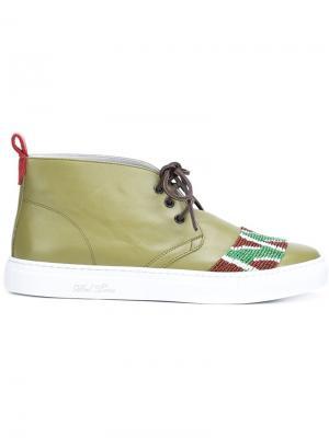 Декорированные ботинки чукка Del Toro Shoes. Цвет: зелёный