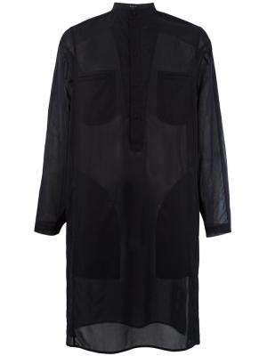 Полупрозрачная удлиненная рубашка Qasimi. Цвет: чёрный