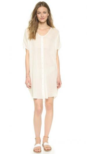 Ажурное платье-рубашка Surf Bazaar. Цвет: натуральный/коралловый
