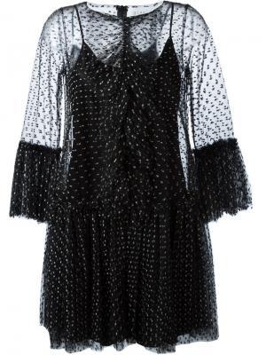 Кружевное платье с рюшами Gianluca Capannolo. Цвет: чёрный