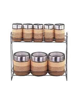 Набор банок для сыпучих продуктов и специй 8 предметов на металлической подставке PATRICIA. Цвет: светло-коричневый