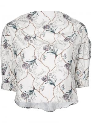 Cropped floral print blouse 08Sircus. Цвет: белый