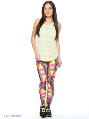 Леггинсы Wo Longt Triax Adidas. Цвет: белый, синий, розовый, желтый