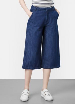 Джинсовые брюки-кюлоты OSTIN. Цвет: синий