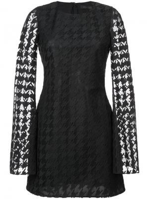 Кружевное платье в ломаную клетку Rubin Singer. Цвет: чёрный