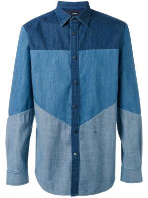 Джинсовая рубашка с панельным дизайном Diesel. Цвет: синий