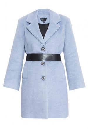 Пальто с ремнем 160420 Access. Цвет: синий