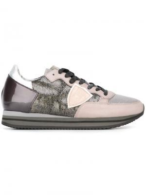 Кроссовки с логотипом Philippe Model. Цвет: серый