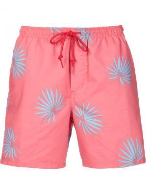 Плавательные шорты с растительным принтом Obey. Цвет: красный