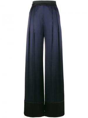 Широкие атласные брюки Michael Lo Sordo. Цвет: синий
