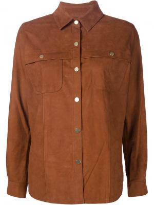 Замшевая куртка-рубашка Frame Denim. Цвет: коричневый