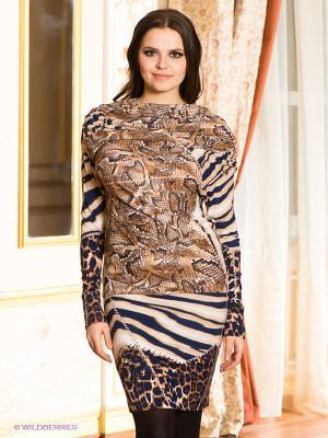 Платье МадаМ Т. Цвет: коричневый, темно-синий