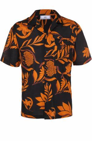 Хлопковая рубашка с короткими рукавами и контрастным принтом Ami. Цвет: оранжевый