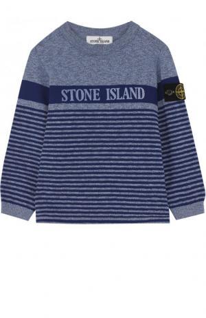Пуловер джерси в полоску Stone Island. Цвет: синий