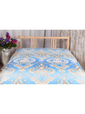 Одеяло-покрывало Льняное 1,5 ARKADY. Цвет: голубой, золотистый