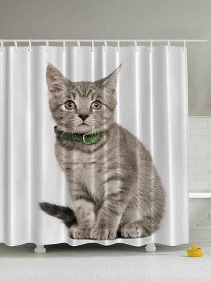 Фотоштора для ванной Котёнок в зелёном ошейнике, 180*200 см Magic Lady. Цвет: белый, серый