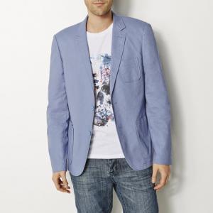 Пиджак, 55% льна R REFERENCE. Цвет: синий джинсовый