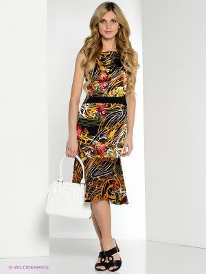 Платье Yulia Dushina. Цвет: черный, красный, оранжевый
