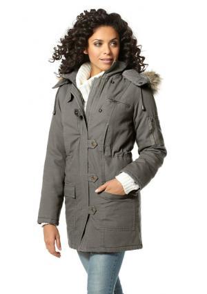 Куртка-парка BOYSENS BOYSEN'S. Цвет: темно-синий, цвет белой шерсти, черный