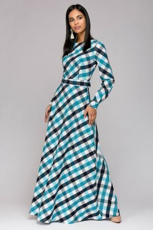 Платье 1001dress. Цвет: бирюзовый, клетка
