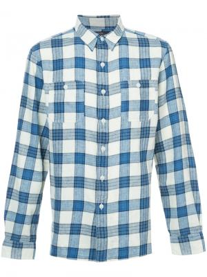 Классическая рубашка в клетку Rrl. Цвет: синий