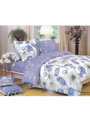 Комплект постельного белья ЕВРО сатин, рисунок 669 LA NOCHE DEL AMOR. Цвет: серый