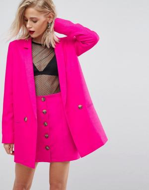 ASOS Розовый двубортный блейзер Tailored. Цвет: розовый