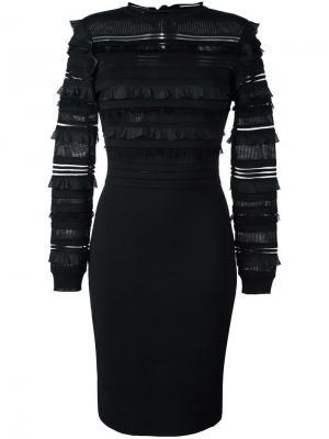 Приталенное платье с оборками Oscar de la Renta. Цвет: чёрный