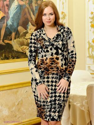 Платье МадаМ Т. Цвет: серый, коричневый