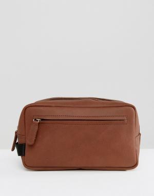 ASOS Коричневый кожаный несессер. Цвет: коричневый