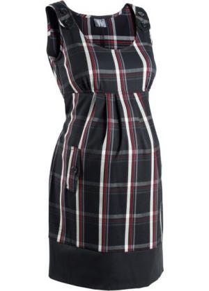 Деловая мода для беременных: платье в клетку (черный/темно-красный клетку) bonprix. Цвет: черный/темно-красный в клетку