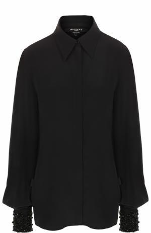 Шелковая блуза с декорированными манжетами Rochas. Цвет: черный