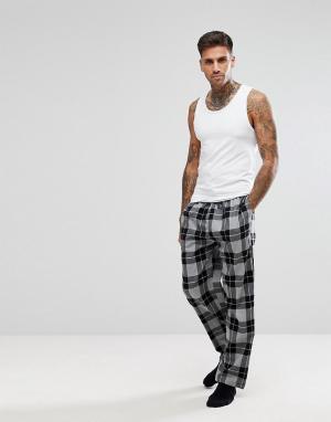 New Look Пижамные штаны в черную клетку. Цвет: черный