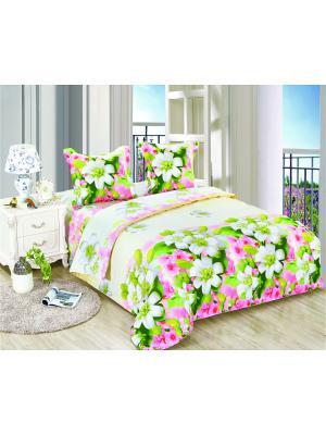 Постельное белье Veselie 2,0 сп.Euro Amore Mio. Цвет: молочный, розовый, зеленый