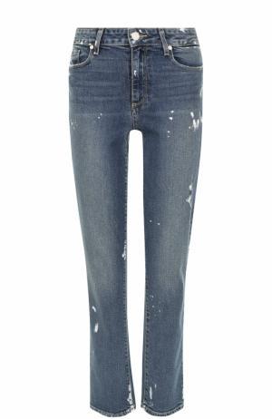 Укороченные джинсы с потертостями Paige. Цвет: синий