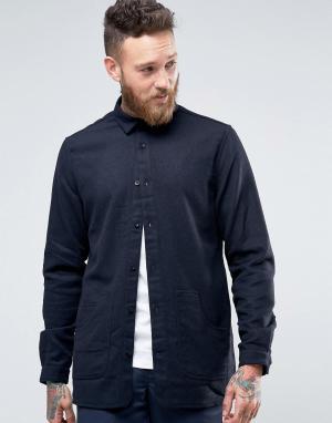 Hoxton Shirt Company Куртка слим с карманами. Цвет: темно-синий