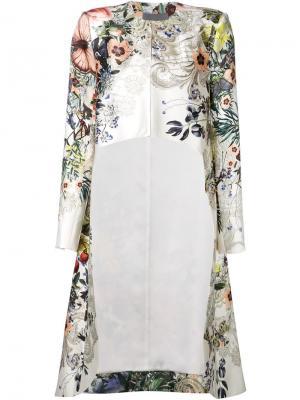 Асимметричный пиджак с цветочным принтом Monique Lhuillier. Цвет: телесный