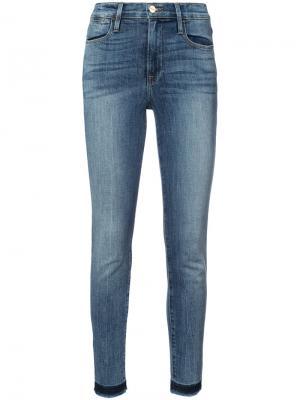 Frayed hem skinny jeans Frame Denim. Цвет: синий