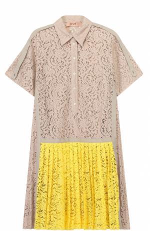Кружевное платье-рубашка с плиссированной юбкой No. 21. Цвет: разноцветный