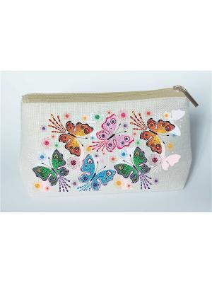 Набор для шитья и вышивания косметички Полет бабочек Матренин Посад. Цвет: серый, зеленый, синий
