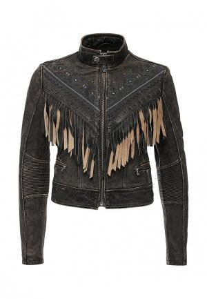 Куртка кожаная Affliction. Цвет: коричневый