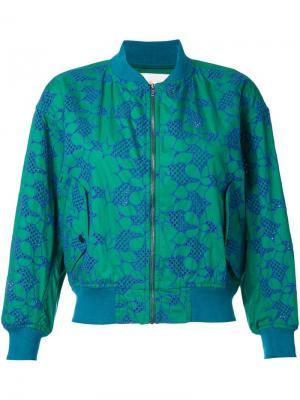 Куртка-бомбер с вышивкой Mikio Sakabe. Цвет: зелёный