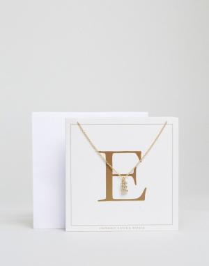 Johnny Loves Rosie Ожерелье c буквой E. Цвет: золотой