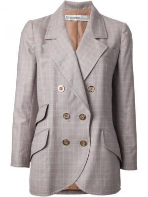 Пиджак в клетку Jean Louis Scherrer Vintage. Цвет: розовый и фиолетовый