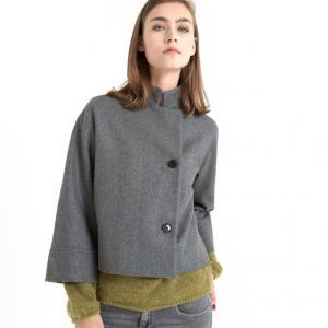 Пальто укороченное, рукава 3/4, прямой воротник FIGUE GAT RIMON. Цвет: серый меланж